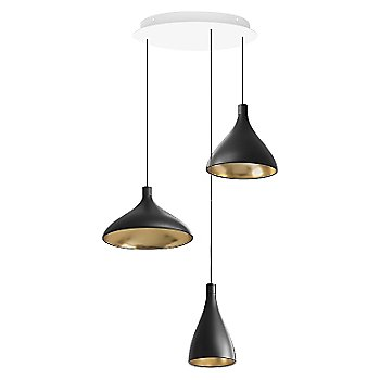 Shown in Black with Brass finish
