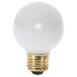 25W 120V G16 1/2 E26 Gloss White Bulb 6-Pack