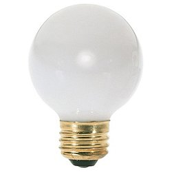 40W 120V G16 E26 White Bulb 6-Pack