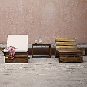 BK14 Sunbed with Cushion with BK14 Sunbed and BK16 Side Table