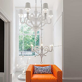 Paper Chandelier with Shades, in use