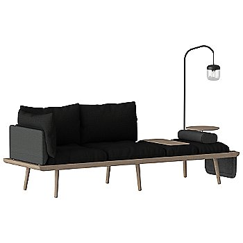 Lounge Around 3-Seat Platform Sofa with Lounge Around Table Accessory, Light Around Sofa Lamp, Lounge Around Side Magazine Pocket and  Lounge Around Sofa Side Pillow