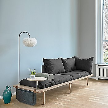 Lounge Around 3-Seat Platform Sofa with Lounge Around Table Accessory, Light Around Sofa Lamp, Eos Mini Lamp Shade, Lounge Around Side Magazine Pocket and Lounge Around Sofa Side Pillow
