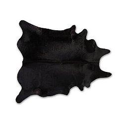 Solid Black Natural Cowhide