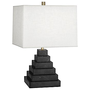Shown in Black Marble with White Brussels Linen shade
