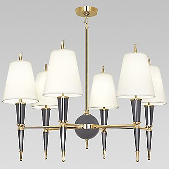 Shown in Ash with Fondine Fabric shade with Modern Brass finish