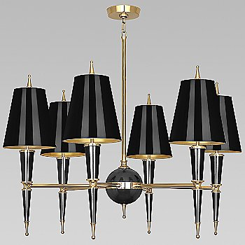 Shown in Black with Black Parchment shade with Modern Brass finish