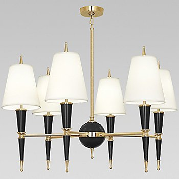 Shown in Black with Fondine Fabric shade with Modern Brass finish