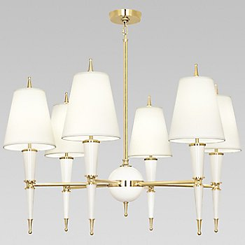 Shown in Lily with Fondine Fabric shade with Modern Brass finish