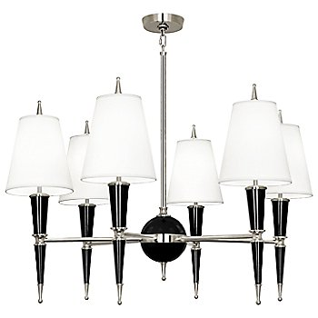 Shown in Black with Fondine Fabric shade with Polished Nickel finish