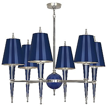 Shown in Cobalt with Cobalt Parchment shade with Polished Nickel finish