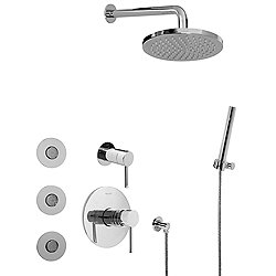 M.E. Full Thermostatic Shower System with Transfer Valve