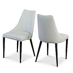 Auwell Dining Chairs - Set of 2 (Taupe Gray Faux Leather) - OPEN BOX RETURN