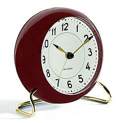 Arne Jacobsen Station Alarm Clock, Burgandy
