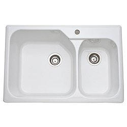 Allia Fireclay 2 Bowl Drop-In Kitchen Sink