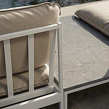 Shown in Light Grey Sunbrella Ashe fabric / Light Grey frame