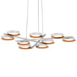Light Guide Ring 9-Light LED Pendant Light (White/Apricot)-OPEN BOX