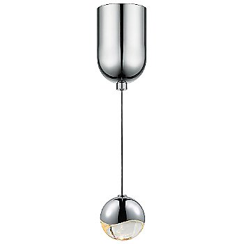 Shown in Polished Chrome w Clear Glass finish, Small, Mini-Dome Shape