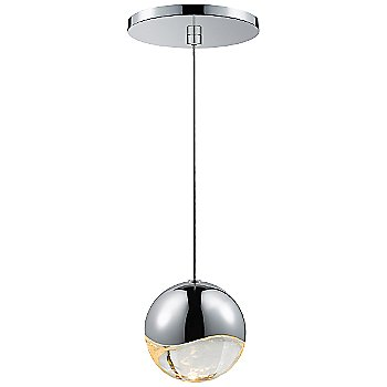 Shown in Polished Chrome w Clear Glass finish, Large, Round Shape