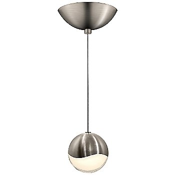 Shown in Satin Nickel w White Glass finish, Medium, Dome Shape