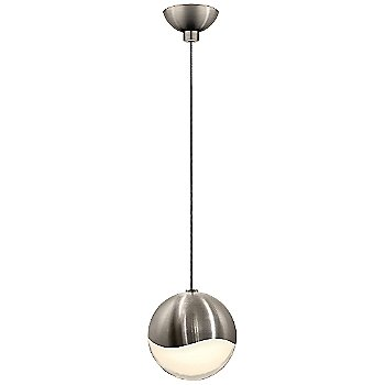 Shown in Satin Nickel w White Glass finish, Medium, Micro-Dome Shape