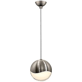 Shown in Satin Nickel w White Glass finish, Large, Micro-Dome Shape