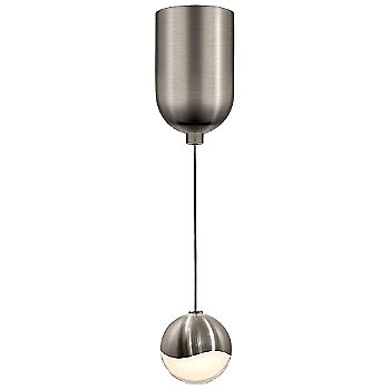 Shown in Satin Nickel w White Glass finish, Small, Mini-Dome Shape