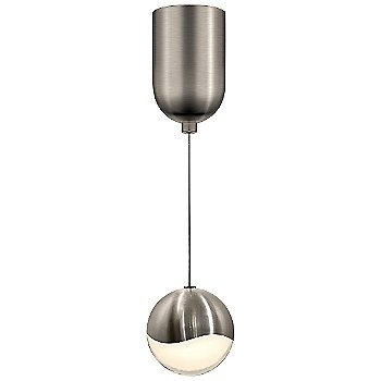 Shown in Satin Nickel w White Glass finish, Medium, Mini-Dome Shape