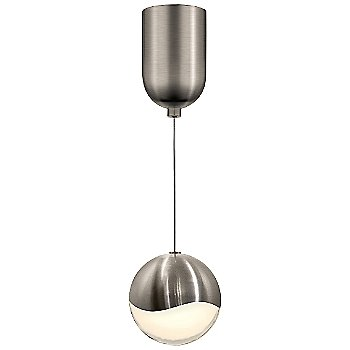 Shown in Satin Nickel w White Glass finish, Large, Mini-Dome Shape