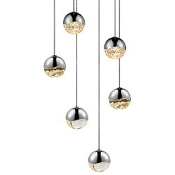 Grapes 6 Light LED Round Multipoint Pendant