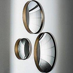 Sail Mirror - Round Convex Burnished Metal Frame
