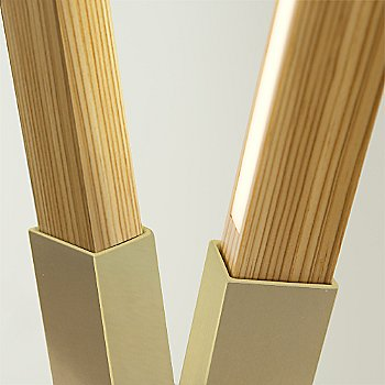 Brushed Brass finish with reclaimed Heart Pine / Detail view