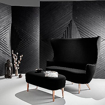 Black Halingdal Fabric and Copper Legs with Long Ottoman