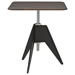 Screw Cafe Base Wood Top Table (Fumed Oak Square 650 25.5 X 25.5-In) - OPEN BOX RETURN