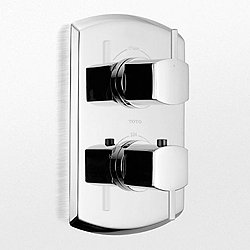 Soiree Thermostatic Mixing Valve Trim with Dual Volume Control and Lever Handles