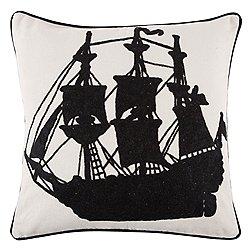 Ship Crewel Pillow 22x22