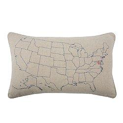 USA Embroidered Pillow 12x20