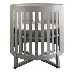 Soren Round Convertible Crib (White/Wood) - OPEN BOX RETURN