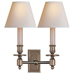 French Double Library Sconce (Antiq Nickel/Paper) - OPEN BOX