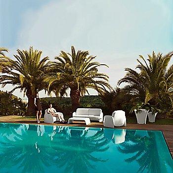 Pezzettina Lounge Chairs with Pezzettina Sofa, Blow Coffee Table and Pezzettina Planters, daytime in Matte, White