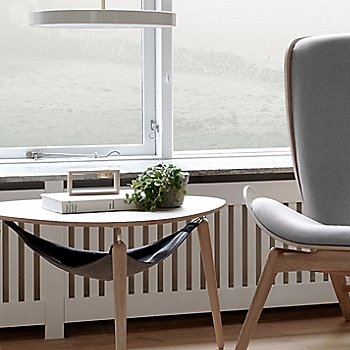 Hang Out Coffee Table / Compose Candleholder Set / Reader Lounge Chair and Asteria LED Pendant Light