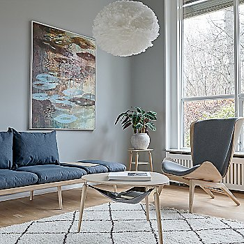 Hang Out Coffee Table / Lounge Around 3-Seat Platform Sofa / Reader Lounge Chair / Eos X-Large Pendant Light and My Spot Side Table