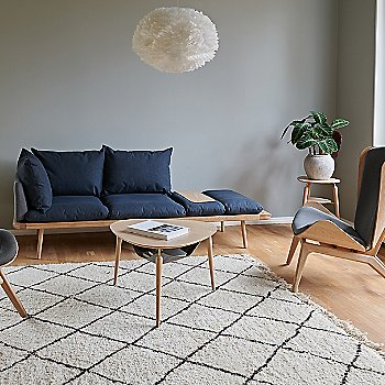Hang Out Coffee Table / Lounge Around 3-Seat Platform Sofa / Reader Lounge Chair / Eos X-Large Pendant Light / My Spot Side Table and Eos 1-Light Wall Sconce
