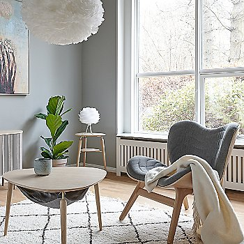 Hang Out Coffee Table / My Spot Side Table / A Conversation Piece Lounge Chair / Carmina Table Lamp / Eos X-Large Pendant Light