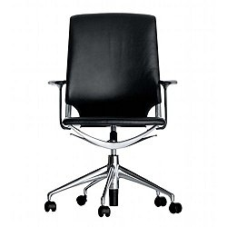 Meda Office Task Chair with Leather Backrest
