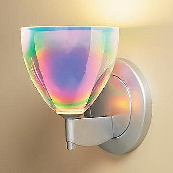 Shown in Rainbow Dichroic glass, Matte Chrome finish