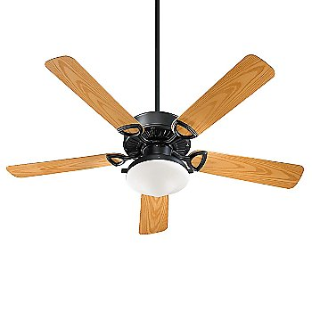 Matte Black Fan Body with Satin Opal kit and Medium Oak Blade finish