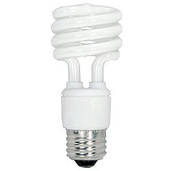 13W 120V T2 E26 Mini Spiral CFL Bulb