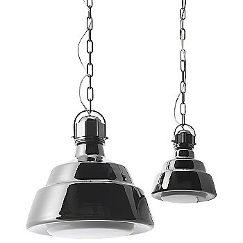 Shown in Chrome shade, Large (left) and Small