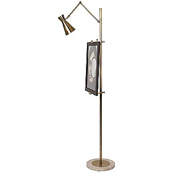 Shown in Antique Brass with Honed Travertine base